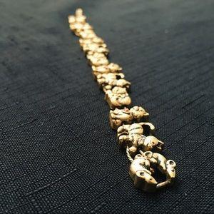 Jewelry - Vintage Golden Cat and Mouse Charm Bracelet EUC 😻